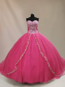 Hot Pink Ball Gowns Sweetheart Sleeveless Tulle Court Train Lace Up Beading Quince Ball Gowns