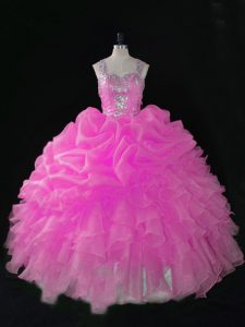 Ball Gowns Vestidos de Quinceanera Hot Pink Straps Organza Sleeveless Floor Length Zipper