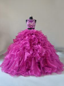 Glorious Fuchsia Zipper Sweet 16 Dresses Beading and Ruffles Sleeveless Brush Train