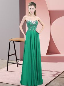 Flirting Sweetheart Sleeveless Prom Gown Floor Length Beading Turquoise Chiffon
