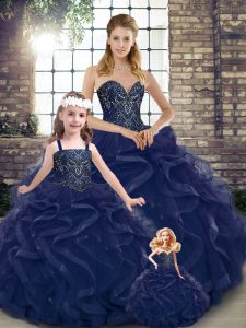 Trendy Navy Blue Ball Gowns Tulle Sweetheart Sleeveless Beading and Ruffles Floor Length Lace Up Quinceanera Gowns