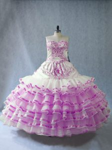 Ball Gowns Sweet 16 Quinceanera Dress Lilac Sweetheart Organza Sleeveless Floor Length Lace Up