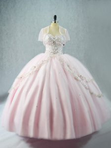 Eye-catching Pink Ball Gowns Tulle Sweetheart Sleeveless Beading Floor Length Lace Up Quinceanera Dress