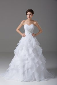 Sweetheart Sleeveless Organza Bridal Gown Beading and Ruffled Layers Brush Train Lace Up