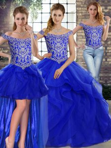 Clearance Royal Blue Tulle Lace Up Off The Shoulder Sleeveless Ball Gown Prom Dress Brush Train Beading and Ruffles