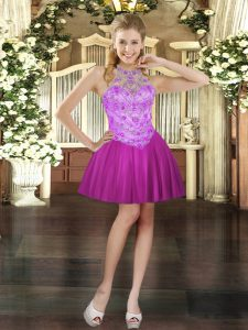 Dazzling Fuchsia Halter Top Lace Up Beading Homecoming Party Dress Sleeveless