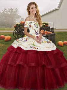 Sleeveless Embroidery and Ruffled Layers Lace Up Quinceanera Gown with Wine Red Brush Train