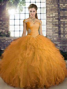 Orange Tulle Lace Up 15 Quinceanera Dress Sleeveless Floor Length Beading and Ruffles