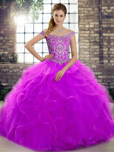 Amazing Off The Shoulder Sleeveless Vestidos de Quinceanera Brush Train Beading and Ruffles Purple Tulle