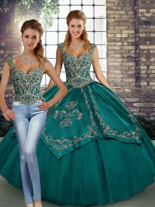Decent Two Pieces Vestidos de Quinceanera Teal Straps Tulle Sleeveless Floor Length Lace Up