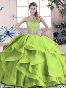 Floor Length Green Quinceanera Dress Tulle Sleeveless Beading and Lace and Ruffles