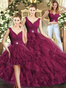 Burgundy Backless V-neck Beading and Ruffles Quince Ball Gowns Tulle Sleeveless