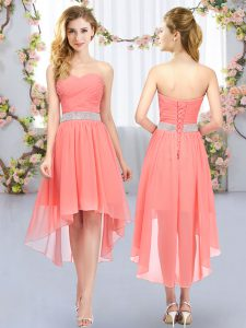 Belt Court Dresses for Sweet 16 Watermelon Red Lace Up Sleeveless High Low