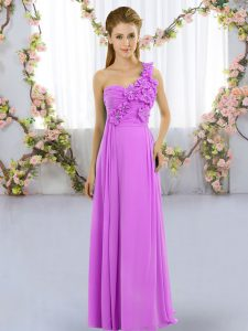 Custom Made Floor Length Lilac Quinceanera Dama Dress Chiffon Sleeveless Hand Made Flower