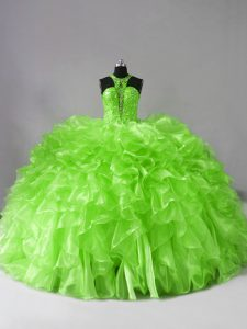 Artistic Zipper Sweet 16 Dresses Beading and Ruffles Sleeveless Brush Train