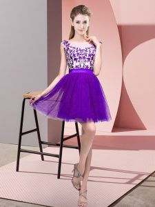 Tulle Sleeveless Mini Length Dama Dress for Quinceanera and Lace