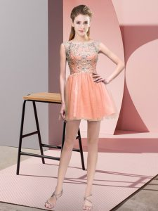 Spectacular Empire Dress for Prom Peach Bateau Tulle Sleeveless Mini Length Zipper