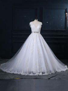 White Zipper Bridal Gown Beading and Lace Sleeveless Brush Train
