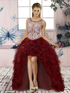 Burgundy Lace Up Evening Dress Beading and Ruffles Sleeveless High Low