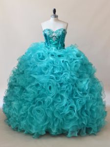 Aqua Blue Ball Gowns Ruffles and Sequins Quinceanera Gown Fabric With Rolling Flowers Sleeveless Floor Length