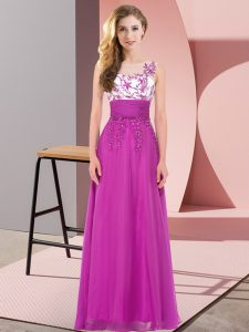 Floor Length Backless Wedding Guest Dresses Fuchsia for Wedding Party with Appliques