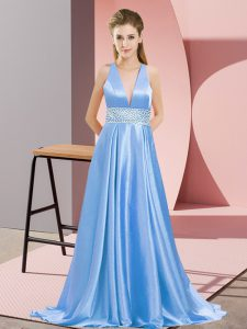 Baby Blue Elastic Woven Satin Backless V-neck Sleeveless Prom Dresses Brush Train Beading