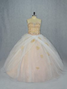 Sophisticated Tulle Sleeveless Sweet 16 Dress and Beading and Appliques