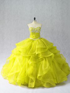Floor Length Yellow Green Quince Ball Gowns Organza Sleeveless Beading and Ruffles