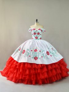 Fashion White And Red Off The Shoulder Neckline Embroidery and Ruffled Layers Quinceanera Gown Sleeveless Lace Up