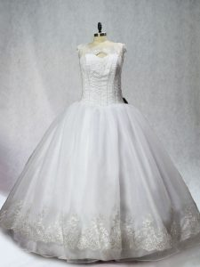 Pretty Sleeveless Beading and Appliques Lace Up Quinceanera Gowns