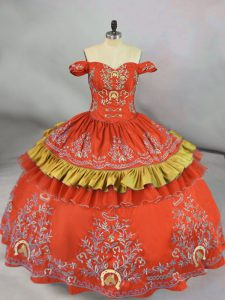 Shining Orange Red Satin Lace Up Off The Shoulder Sleeveless Floor Length Quince Ball Gowns Embroidery