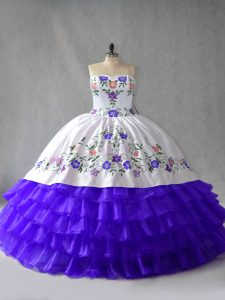 Pretty Sleeveless Lace Up Floor Length Embroidery and Ruffled Layers Quinceanera Dress