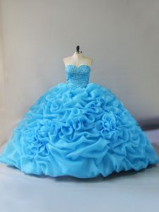 Court Train Ball Gowns 15th Birthday Dress Baby Blue Sweetheart Organza Sleeveless Lace Up