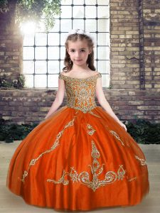Best Sleeveless Tulle Floor Length Lace Up Pageant Dress for Girls in Orange Red with Beading