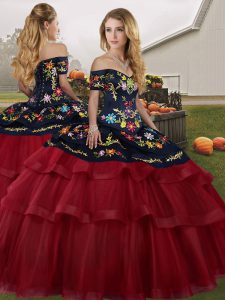 Brush Train Ball Gowns Vestidos de Quinceanera Wine Red Off The Shoulder Tulle Sleeveless Lace Up