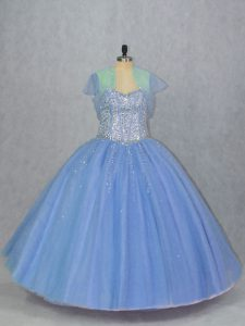 Floor Length Lace Up 15 Quinceanera Dress Blue for Sweet 16 and Quinceanera with Beading