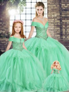 Apple Green Ball Gowns Beading and Ruffles Quinceanera Dress Lace Up Tulle Sleeveless Floor Length
