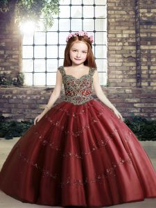 Stylish Red Evening Gowns Party and Sweet 16 and Wedding Party with Beading Straps Sleeveless Lace Up