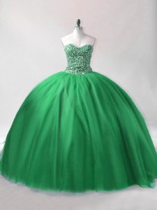 Stylish Dark Green Ball Gowns Beading Quinceanera Gowns Lace Up Tulle Sleeveless Floor Length