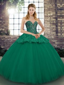 Popular Sleeveless Tulle Floor Length Lace Up Quinceanera Dress in Green with Beading and Appliques