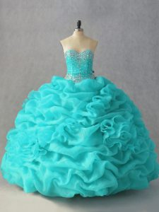 Inexpensive Sweetheart Sleeveless 15 Quinceanera Dress Floor Length Beading and Pick Ups and Hand Made Flower Aqua Blue Organza