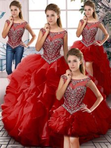 Gorgeous Organza Scoop Sleeveless Zipper Beading and Ruffles Sweet 16 Dress in Red