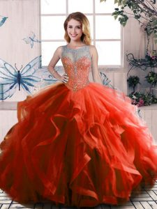 Dazzling Rust Red Scoop Neckline Beading and Ruffles Ball Gown Prom Dress Sleeveless Lace Up