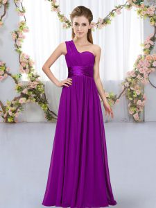 Sleeveless Floor Length Lace Up Dama Dress for Quinceanera in Purple with Belt