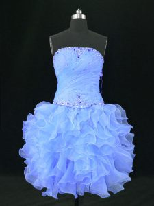 Beauteous Blue Prom and Party and Military Ball with Beading and Ruffles Strapless Sleeveless Lace Up