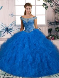 Blue Off The Shoulder Lace Up Beading and Ruffles Quinceanera Gown Sleeveless