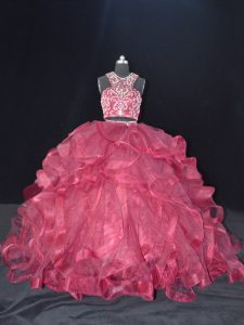 Dramatic Burgundy Quinceanera Gowns Sweet 16 and Quinceanera with Beading and Ruffles Scoop Sleeveless Brush Train Backless