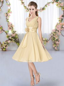 Knee Length Empire Sleeveless Champagne Bridesmaid Dresses Lace Up