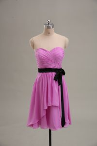Lilac Sleeveless Chiffon Zipper Prom Dresses for Prom and Party and Military Ball