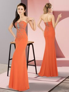 Delicate Floor Length Orange Red Prom Party Dress Chiffon Sleeveless Beading